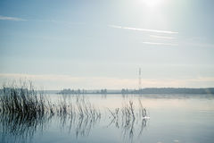 Dawn στον ποταμό Severnaya Dvina Στοκ Εικόνες
