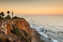 Dawn στο σημείο Vicente Lighthouse Στοκ φωτογραφίες με δικαίωμα ελεύθερης χρήσης