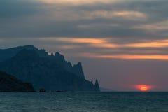 Dawn στο Kara-Dag στοκ εικόνες