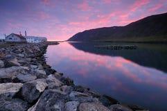 Dawn στο siglufjodðu στοκ φωτογραφία