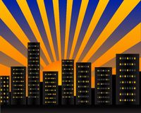 Dawn. Illustration of the city at dawn with big sun stock illustration