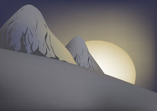 Dawn. In high snow-bound mountains vector illustration