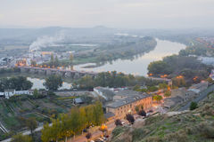 Dawn. In Tudela, Navarra, Spain, passing the river Ebro stock image
