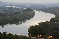 Dawn. In Tudela, Navarra, Spain, passing the river Ebro royalty free stock photo