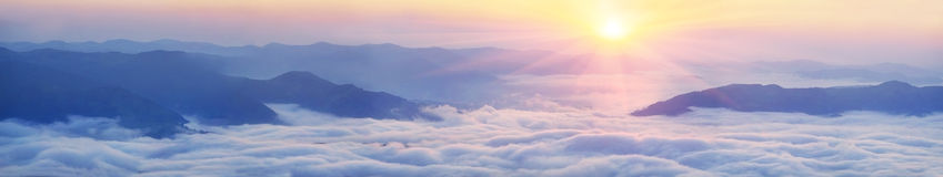 Dawn above the sea of fog Royalty Free Stock Image
