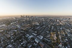 Echo Park and Downtown Los Angeles Sunrise Aerial Stock Images