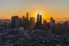Dawn Aerial Downtown Los Angeles Royalty Free Stock Photo