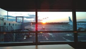 Dawn at the airport Vantaa in Helsinki. Good beginning of the trip Royalty Free Stock Image