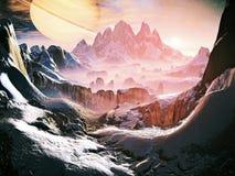 Dawn on Alien Ice World stock illustration