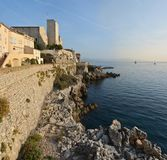 Dawn at Antibes with Nice in The Background. France royalty free stock photo