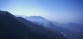 Dawn in Apuan Alps, Carrara, Italy Stock Images