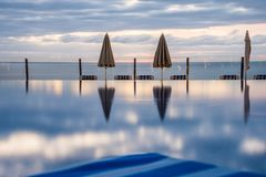 Dawn as seen, geometric view from luxury hotel Royalty Free Stock Images