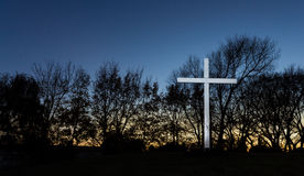 Dawn Autunm White Cross Royalty Free Stock Images