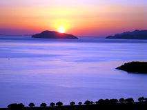 Dawn, baai van Mirabella Kreta Stock Foto