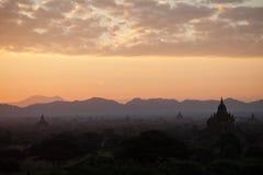 Dawn in Bagan, Myanmar Royalty-vrije Stock Foto's