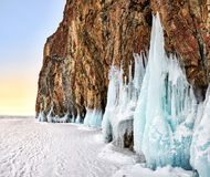 Dawn at Baikal cape in early March Royalty Free Stock Photography