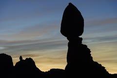 Dawn at Balanced Rock, Arches National Park Stock Image
