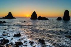 Dawn in the bay of Acitrezza, Sicily stock photo