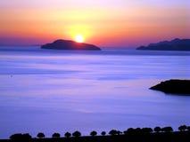 Dawn, bay of Mirabella Crete Stock Photo