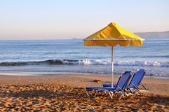 Dawn on the beach. Dawn on the sandy beach of Mediterranean Royalty Free Stock Image