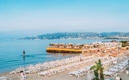Dawn beach in Juan les Pins beach, Cote d`Azur, France.  royalty free stock photos