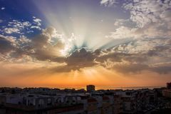 Beautiful morning sky. Dawn. Beautiful morning sky, clouds and sunlight. Costa del Sol, Andalusia, Spain Stock Photography