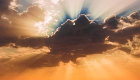 Beautiful morning sky. Dawn. Beautiful morning sky, clouds and sunlight. Costa del Sol, Andalusia, Spain Stock Image