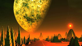 Dawn and big planet over alien city stock video footage