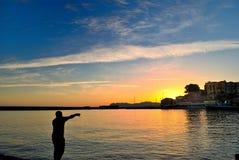 Dawn bij de haven van Chania in Kreta Griekenland Stock Foto