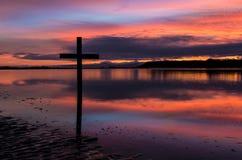 Dawn Black Cross Stock Image