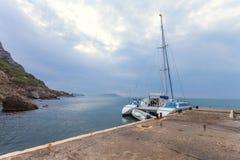 Dawn at Black sea. Morning seascape with mountains. Crimea Stock Photos