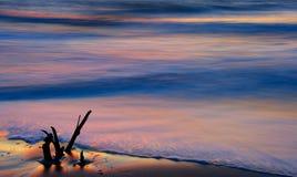 Dawn break on the beach of the Atlantic Ocean. Horizontal photo of Atlantic Ocean surf at dawn Stock Photos