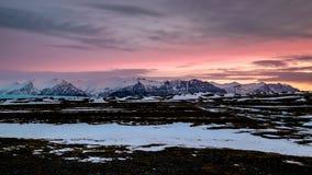 Dawn Breaking dichtbij Jokulsarlon stock fotografie