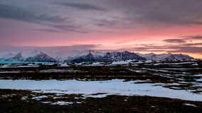 Dawn Breaking near Jokulsarlon Stock Photography