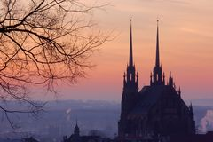 Dawn in Brno Royalty-vrije Stock Foto