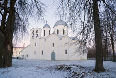 Dawn at the Cathedral of St. John the Baptist in Pskov Stock Photos