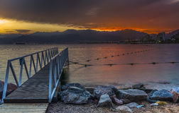 Before dawn, central beach of Eilat Stock Image