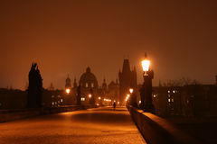 Dawn on Charles Bridge in Prague Royalty Free Stock Image