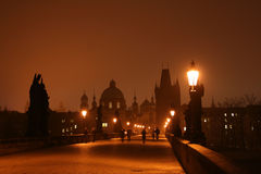 Dawn on Charles Bridge in Prague Royalty Free Stock Photography