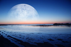 Dawn coast. The dawn coast of moonlight Royalty Free Stock Photo