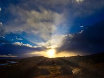Dawn on Colorado River. Horsethief Canyon State Wildlife Area in western Colorado has scenic views, migratory birds, and diverse wildlife.  Riparian landscape Royalty Free Stock Images