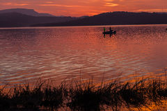 Dawn Colors Boat Fish Dam Royalty Free Stock Image