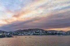 Dawn colors over Finikas village in Syros island, Cyclades, Greece. Dawn colors over Finikas village in Syros island, Cyclades Royalty Free Stock Photo