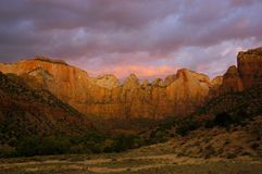 Dawn Colors, Zion. Image of the magnificent Virgin Towers on a stormy early morning, captured in Zion National Park in Utah Stock Image