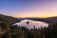 Dawn creeps over Vikingsholm and Emerald Bay State Park stock image