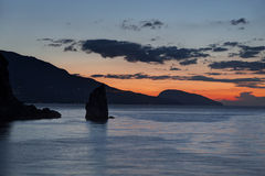 Dawn in the Crimea near the Swallow's Nest with rock Sail in the foreground Royalty Free Stock Photos