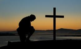 Dawn Cross Prayers Royalty Free Stock Photography