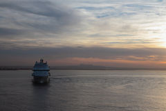 Dawn and cruise liner. Palma-de-Majorca, Spain Royalty Free Stock Images