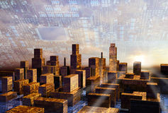 Dawn in Cyber City. Behind the skyline formed by circuit board structure skyscrapers, on blue cyber sky background vector illustration