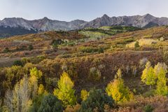 Dawn on the Dallas Divide. The coloful tableau of the Dallas Divide in Autumn glory on a crisp dawn morning in Colorado royalty free stock image